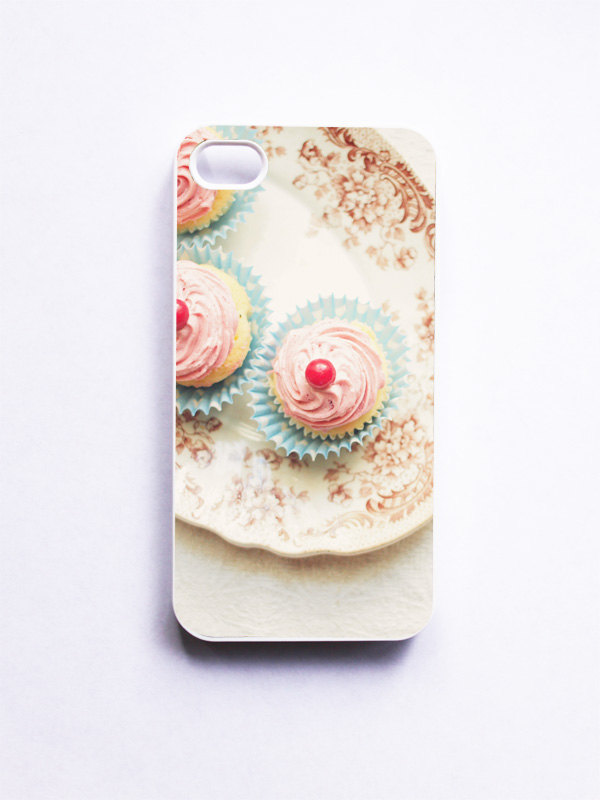 iPhone Case. Cupcake Photo. Baby Cupcakes. White Phone Case. iPhone 4 and 4S Accessory. Girly Pink. Geekery.