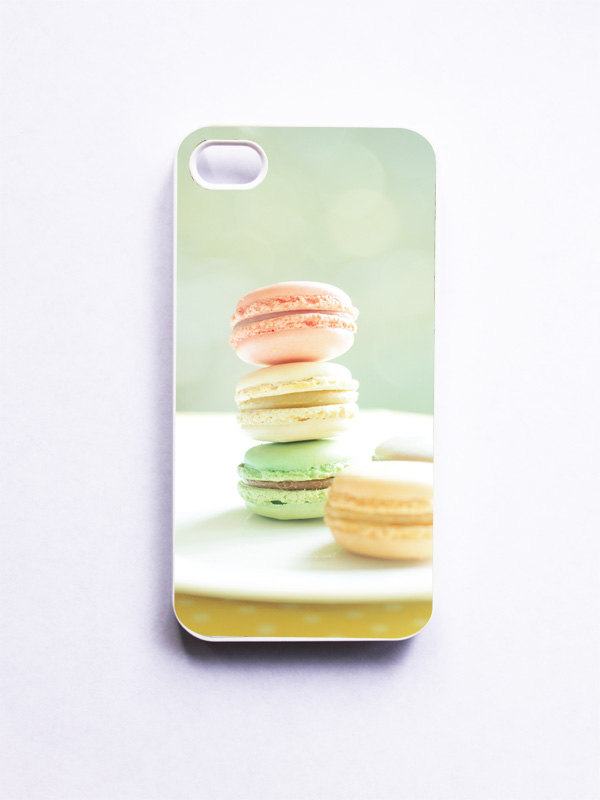 iPhone Case. French Macaroons. Macaron Photo. White Phone Case. iPhone 4 and 4S Accessory. Girly Pastel Colors. Geekery.