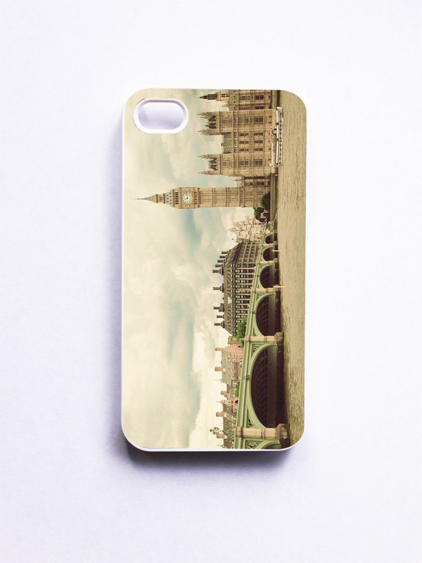 iPhone Case. London Photo. Big Ben. White Phone Case. iPhone 4 and 4S Accessory. Mint Green Bridge. London Landscape. Geekery