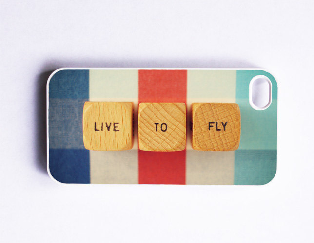 iPhone Case. Live to Fly. Retro Scrabble Wood Blocks. White Case. iPhone 4 and 4S Accessory. Red White Blue. Typography