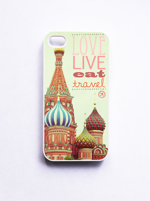 iPhone Case. Moscow Russia. Love Live Eat Travel. White Case. Accessory iPhone 4 and 4S. Red. Orange. Tangerine. Green. Typography.