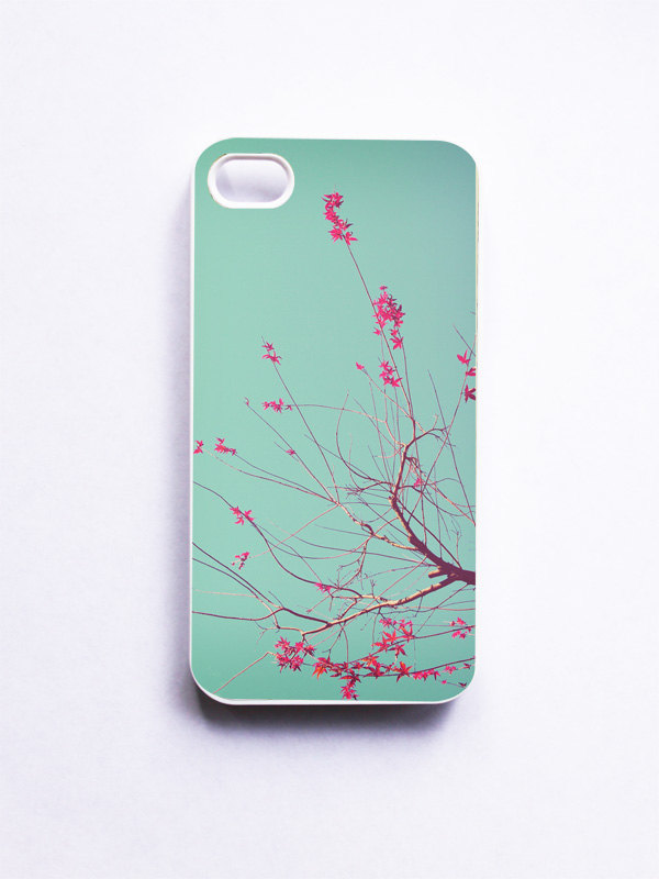 iPhone Case. Autumn Photo. White Case. iPhone 4 and 4S Accessory. Aquamarine Sky. Red Leaves.