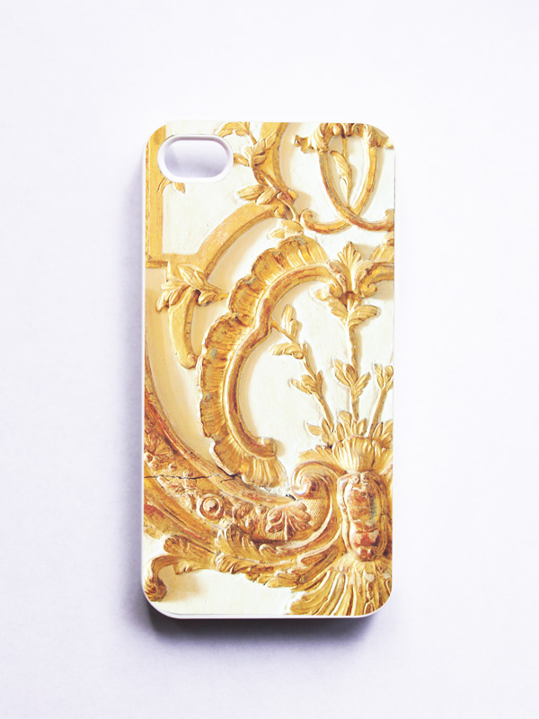 iPhone Case: Gold Lace. Versailles. White Cover. iPhone 4S Case. Rococo. Paris. Gold and White. Fine Art Photography.