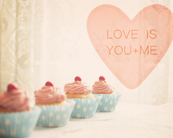 Love Is You And Me. Pink Cupcakes. Romantic. Kitschy Kitchen Decor. Size 8x10""
