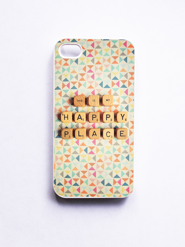 iPhone 4 Case: Happy Place. Tribal Geometric. Scrabble. White Case. iPhone 4s Case. Neon Colors 