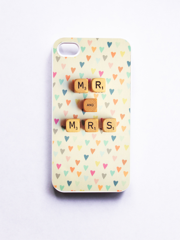 iPhone Case: Mr & Mrs Photo. Wedding. Rainbow Hearts. Scrabble. White Case. iPhone 4 and 4s Case. Vintage Word Dice. Made-To-Order